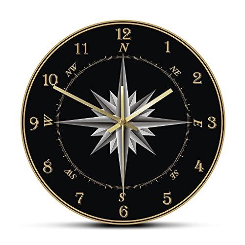Relojes para dormitorios regalos para mujeres marinero brújula reloj de pared brújula rosa náutica decoración del hogar Windrose navegación ronda