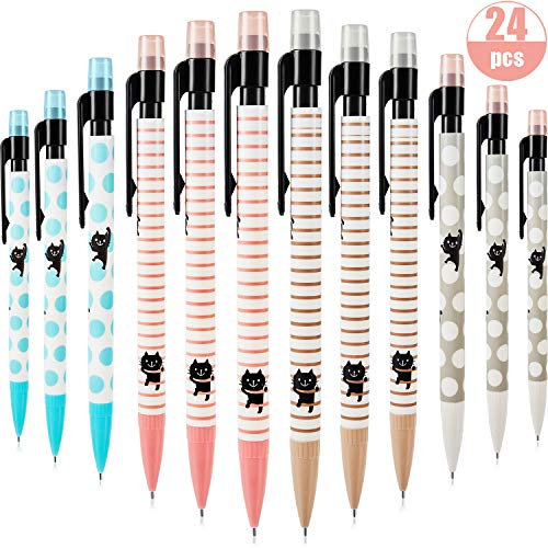 24 Pieces Cat Mechanical Pencils Cute Pencils Automatic Pencils with Eraser for Home Office Classroom School, 0.5 mm