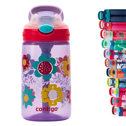 Contigo Gizmo Flip Autospout Kids Water Bottle with Flip Straw, BPA Free Drinks Bottle for Children, Leakproof Flask, Ideal for School and Sports, 420 ml, Wisteria Flowers Purple