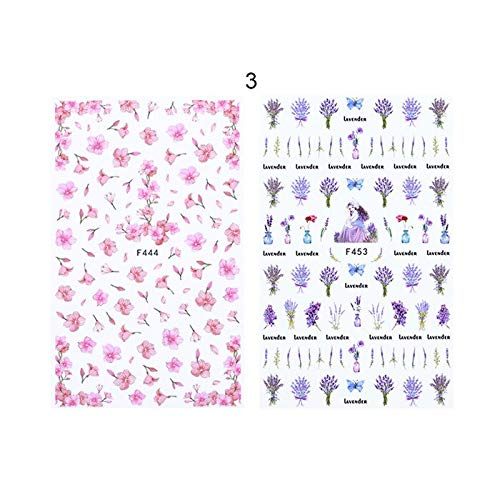 MEIYY Nagel Sticker 2 Vellen 3D Nagel Stickers Bloemen Nagel Lijm Ketting Geometrie Madeliefjes Lavendel Manicure Nagel Art Transfer Sticker Decoratie Patroon 3