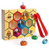 Coogam Toddler Fine Motor Skill Toy, Clamp Bee to Hive Matching Game, Montessori Wooden Color...