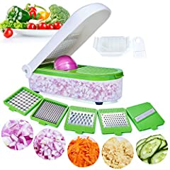 ▶【Ergonomic Design】Ergonomic Design Premium Manual Salad Chopper. The Blades Allows Flexibility To Easily Cut, Slice, Dice, Chop Fruits & Vegetables In Shapes & Sizes For Minimum Time. ▶【High Quality】The Vegetable Chopper Blades Is Made Of 301-Grade ...