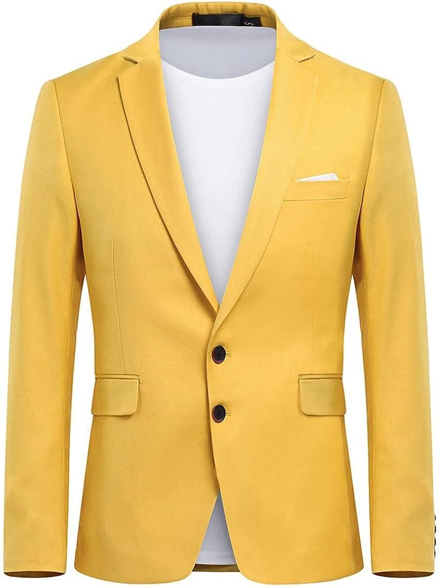 Mens Suit Blazer Slim Fit 2 Button Business Jacket Notched Lapel Sport Coat