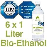Bioethanol 96,6 – 6x1L Flaschen zum handlichen Gebrauch - TÜV geprüfte Reinheit, Qualität, Sicherheit & nachhaltige Herstellung - Made in Germany