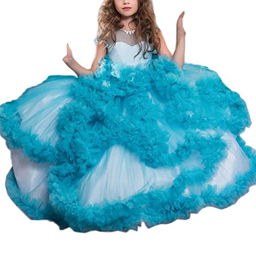Stunning V-Back Luxury Pageant Tulle Ball Gowns for Girls 2-12 Year Old Blue,Size 6