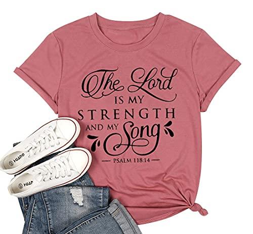 UNIQUEONE Camiseta feminina de manga curta The Lord is My Strength and My Song com estampa de letras, casual, engraçada, Vermelho, XXL
