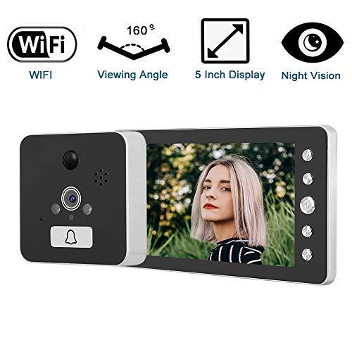 Mirilla Digital con WiFi, Cámara Mirilla,Visor de Mirilla de la Puerta Pantalla Pixel de 2.0MP 5inch Color+función de visión Nocturna+Ángulo de Visión 160°,admite Android/iOS/Google