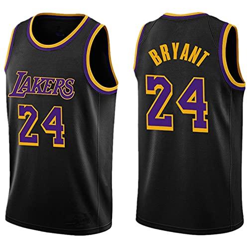 CYQQ Edición de Bonificación Negra, Los Angeles Lakers #24 Kobe Bryant. Bordado Swingman Transpirable y Resistente, Fresco y Transpirable Tejido Deportivo(Size:L,Color:A1)