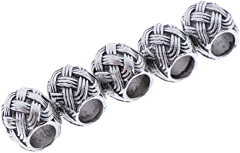 IPOTCH 5X Beard Beads Hair Beads for Men Diy Beads Celtic Rosary Beads Bearded Knots Ring Beard Beads Metal Beads Celtic Knot Dreadlock Hair Accessories