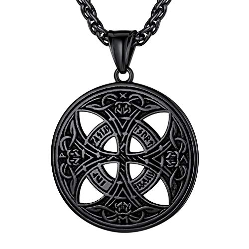 FaithHeart Celtic Knot Pendant Viking Norse Rune Necklace Stainless Steel Vintage Nordic Talisman Necklace for Men Original Jewelry Customize -Black