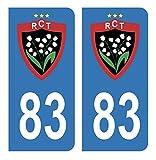 Générique Autocollants Stickers Plaque immatriculation Voiture Auto 83 Club RCT Rugby Club Toulonnais Bleu Foot