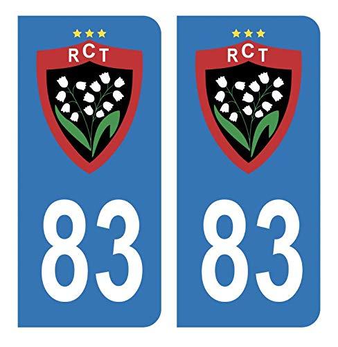 Hadexia Aufkleber für Nummernschild, Auto, 83 Club RCT Rugby Club Toulonnais Blau Fußball