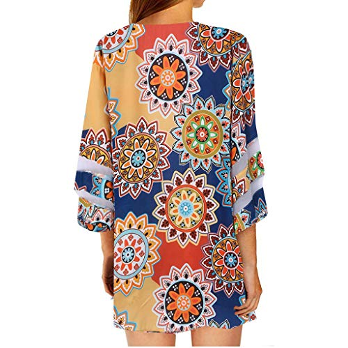 Women's Floral Print Half Sleeve Kimono Cardigan Loose Cover Up Casual Blouse Tops (Yellow, 2XL)