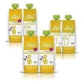 Hilli Fruits BIO Fruchtpüree TryMe 3xAnanas und 3xMango, 6x300g | Praktisch zum Mitnehmen...