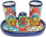 Enchanted Talavera Mexican Ceramic Shot Glass & Salt Shaker Hand Painted Set For Home, Bar Glasses, Decor, Alcohol Serving Gift Set (Cobalt)