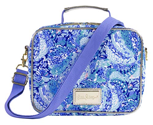 Lilly Pulitzer Blue Thermal Insulated Lunch Box for Women, Cooler Bag with Adjustable/Removable Shoulder Strap, Wave After Wave