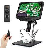 デジタル顕微鏡 10.1インチ LCD 2160Pスクリーン300倍率 USB PC出力 測量 はんだ付け 部品検査 宝石鑑賞 写真 録画可能 画像逆転 金属スタンド HDMI リモコン モニター 調節可能 デジタルマイクロスコープ 電子顕微鏡 1年間保証