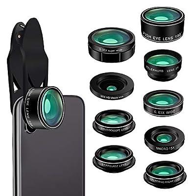 Phone Camera Lens Kit, 9 in 1 Zoom Universal Telephoto Lens+198? Fisheye lens + 0.36 Super Wide Angle Lens + 0.63X Wide Lens +20X Macro Lens + 15X Macro Lens + CPL + Kaleidoscope Lens + Starburst Lens
