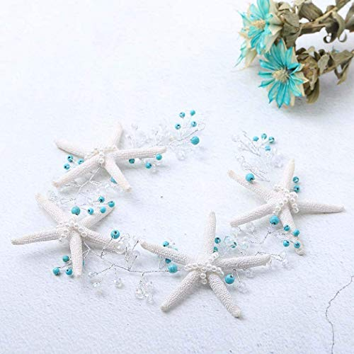 YBSHIN Wedding Hair Vines Silver Pearl Headbands Turquoise Head Pieces Starfish Hair Accessory Jewelry for Women and Girls