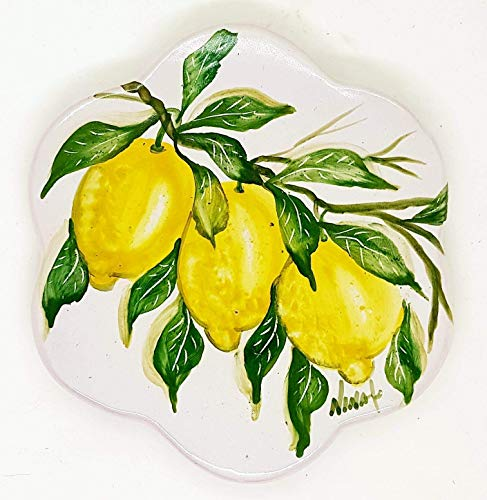 Sottopentola Linea Limoni Realizzato e dipinto a mano Le Ceramiche del Castello Made in Italy Pezzo Unico dimensioni 17 x 17 centimetri