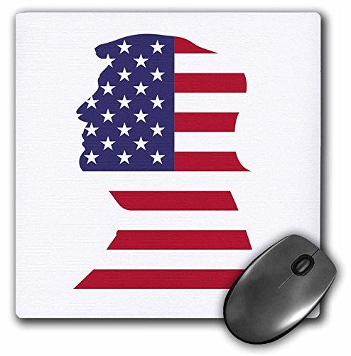3dRose mp_268990_1 muismat met VS-vlag en sterren in patriotische vorm: Donald Trump, wit, 20,3 x 20,3 cm