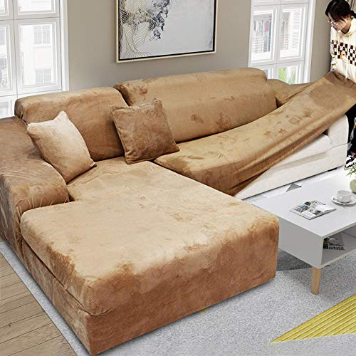 Allenger Stretch Material, Couch/Bed Throw,Thick Plush Sofa Covers Sofas Con Chaise Longue Sofa Towel Strech Slipcover-Camel_190-230cm_China