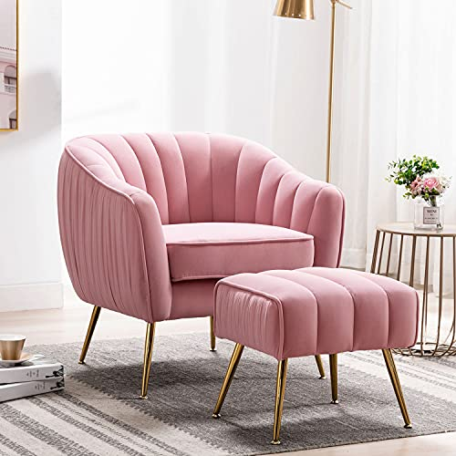 Altrobene Accent Chair Ottoman Set, Modern Club Chair with Footstool, Velvet Upholstered, Curved Tufted, Golded Finished, for Living Room/Bedroom/Home Office, Pink