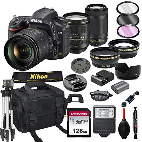 Nikon D750 DSLR Camera with 24-120mm VRand 70-300mm Lens Bundle + 128GB Card, Tripod, Flash, and More (21pc Bundle)