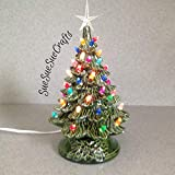 Ceramic Christmas Tree 11' tall Christmas Lighted Decoration Vintage style, Holiday Green Glaze with Crystal star