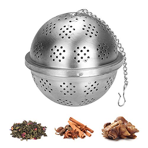 Seasoning Ball Stainless Tea Ball filter Cooking Infuser with Extended Chain Hook for Loose Leaf Tea, coffee,Seasoning (Large)