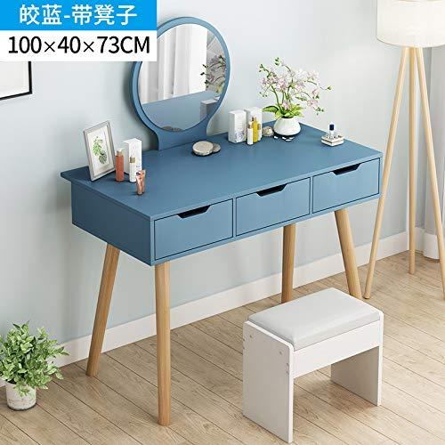 Computer Tafel Bureau, Een Bureau Met Twee Lade Kaptafel Spiegel Zonder Kantoor Tafel in Hout En Eiken Nordic Ontwerp Modern Wit,8,100