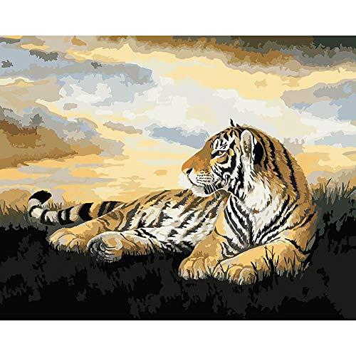 Pintura por números, Tigre animal Kits de Pintar acrílica DIY para Adultos Niños Principiantes Fácil sobre Lienzo 40x50 cm con Pinturas y Pinceles (sin Marco)