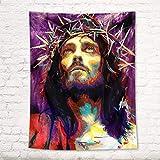 HVEST Jesus Wandteppich, Christlicher Glaube, Portrait,