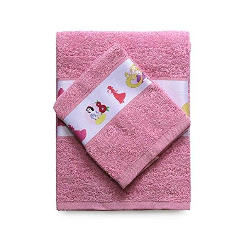 Disney SPGN3001017 - Toalla y Toalla de Invitados con Borde Impreso, 100% algodón, Rosa, 29 x 24 x 2,5 cm