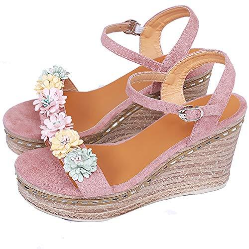 HYWL Donna Ciabatte, Estive Eleganti Ciabatte, Sandali da Donna Estivi Sandali Casual Antiscivolo Zeppe Scarpe da Pantofole da Spiaggia,Rosa,36