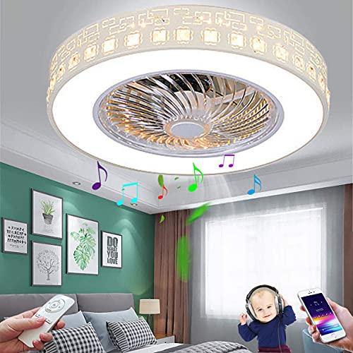 LED Lámpara de Techo Bluetooth con Altavoz Plafon de Techo Musical Ventilador De Techo con Control Remoto Regulable Moderna Circular Iluminación de Techo de Cristal 3000K~6500K Ø50CM