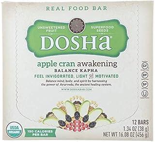Dosha Bar Unsweetened Fruit & Seed Bars, Apple Cran Awakening, 150 Unrefined Calories, Organic Gluten Free Dairy Free Soy ...