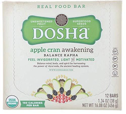 Dosha Bar, Apple Cran Awakening, Organic Gluten Free Dairy Free Soy Free Paleo, 1.34 Oz. Bars, 12 Count