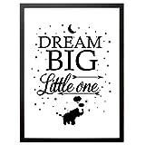 """Booga Baby Poster Kinderzimmer mit Spruch """"Dream Big Little One"""""""