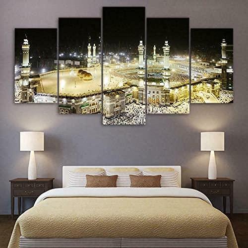 COCOCI Lienzo 5 Piezas Islamic Muslim Saudi Arabia Mosque Lienzos Decorativos Cuadros Grandes Baratos Cuadros Decoracion Cuadros para Dormitorios Modernos Cuadros Decoracion Regalos Personalizados