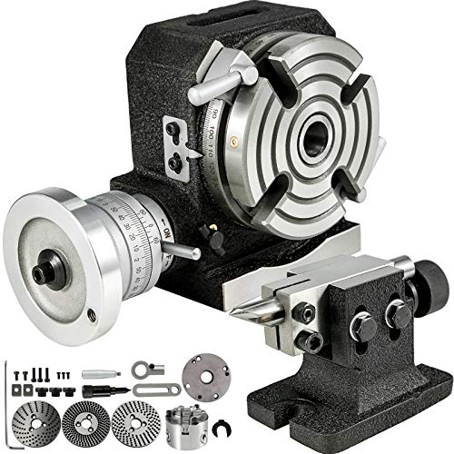 BestEquip Rotary Table 4inch(100mm) Horizontal Vertical Milling Table 4-Slot Milling Rotary Table MT-2 Rotary Table for Milling with Indexing Plates Tailstock and 4inch Chuck for Precision Milling