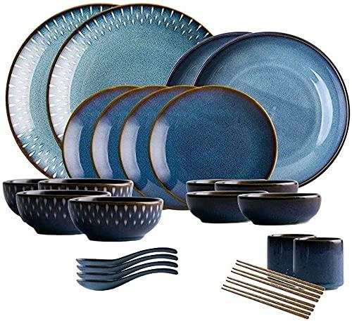 WBDZ Juego de vajilla para el hogar, Juegos de Cuencos, Juego de vajilla de cerámica Retro, Cuenco Grande para Sopa/Cuenco de arroz/Plato/Cuchara/Palillos, Juego de vajilla para 4 Personas (26 pie