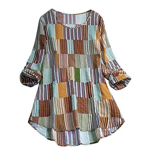 CUTUDE Damen T Shirt, Langarm, lässig, Top, schick, Sommer, gestreift, unregelmäßig, Bluse, Casual, Top T Shirt Gr. XXL, grün
