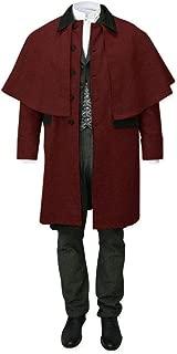 LAICIGO Men's Capecoat Adult Costume Button Down Long Sleeve Victorian Inverness Dress Coat