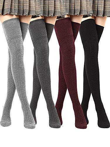SATINIOR Winter Oberschenkel hohe Socken über Kniestrümpfe Dicke Lange Stiefelsocken für Frauen (Schwarz, Dunkelgrau, Weinrot, Hellgrau, 4)