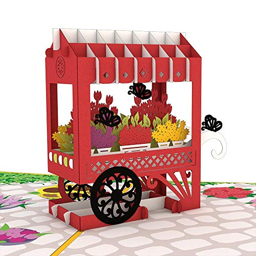 Lovepop French Flower Cart Pop Up Card, 3D Card, Flower Card, Floral Card, Anniversary Card, Pop Up Birthday Card, Greeting Cards