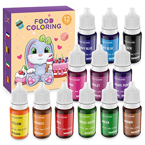 Colorante Alimentario 12*11ml, Set de Colorante Alta Concentración Liquid para Colorear los Bebidas Pasteles Galletas Macaron Fondant