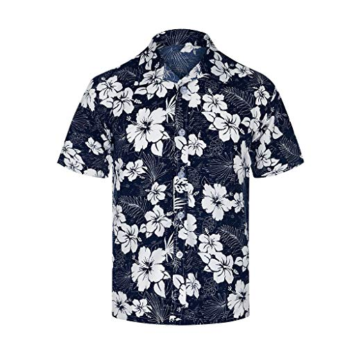 Xmiral T-Shirt Hemd Herren Personalisierte Bedruckte Strandoberseite Kurzarmshirt Top Hemd mit kurzen Ärmeln Lässige T-Shirt(Weiß,M)