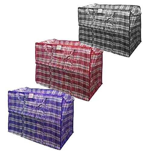 """Set of 9 Laundry Storage Shopping Dorm Room Multi-Purpose Plastic Checker Bag w/ Zipper & Handles-9-Piece Large/Extra Large/Extra Extra Large Variety Pack. 3-Pieces of Each of the Following: L=19""""x19""""x4"""" XL=23""""x23""""x5"""" XXL=27""""x25""""x5"""" Colors Vary Between Wh"""