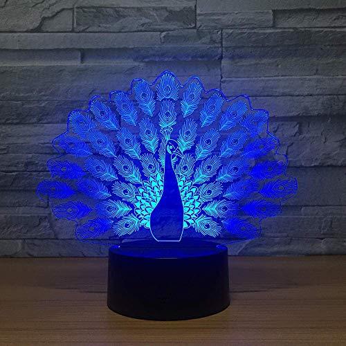 Lámpara de ilusión 3D Luz de noche LED El pavo real se extiende Cola Pavo real Visión Lámpara de mesa estéreo 7 Cambio de color Niño Los mejores regalos de vacaciones de cumpleaños para niños